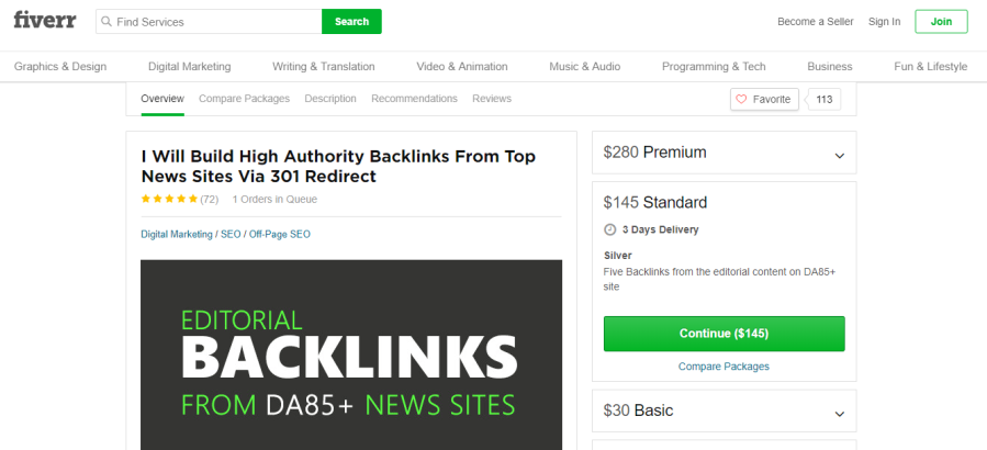 buying links through Fiverr