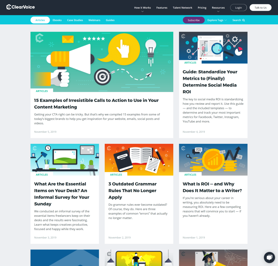 ClearVoice blog homepage