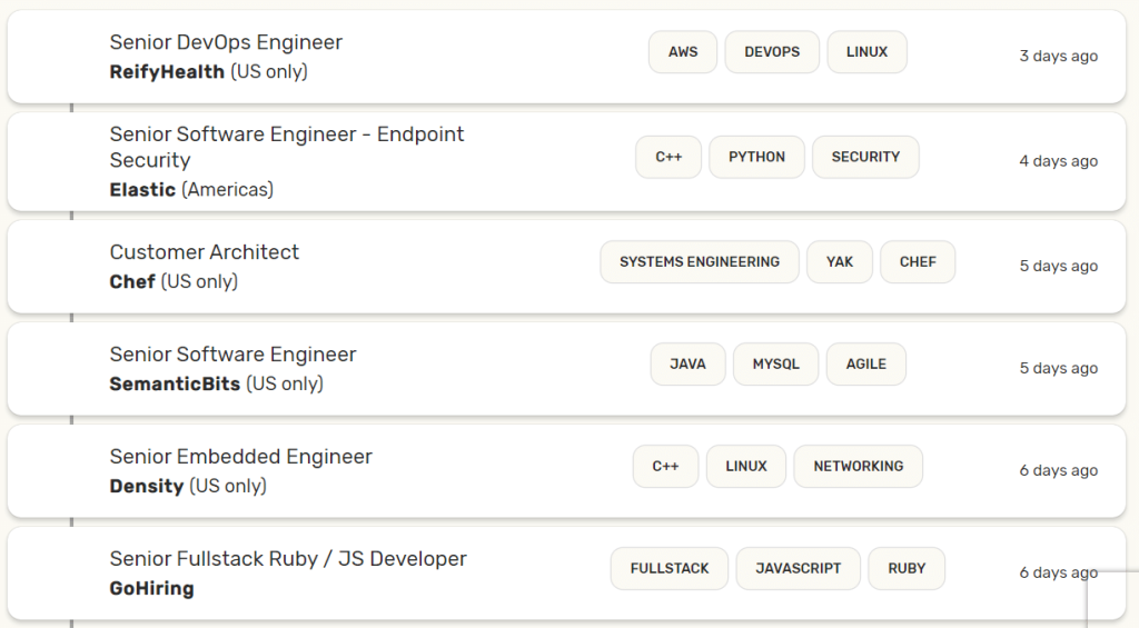remote job listing