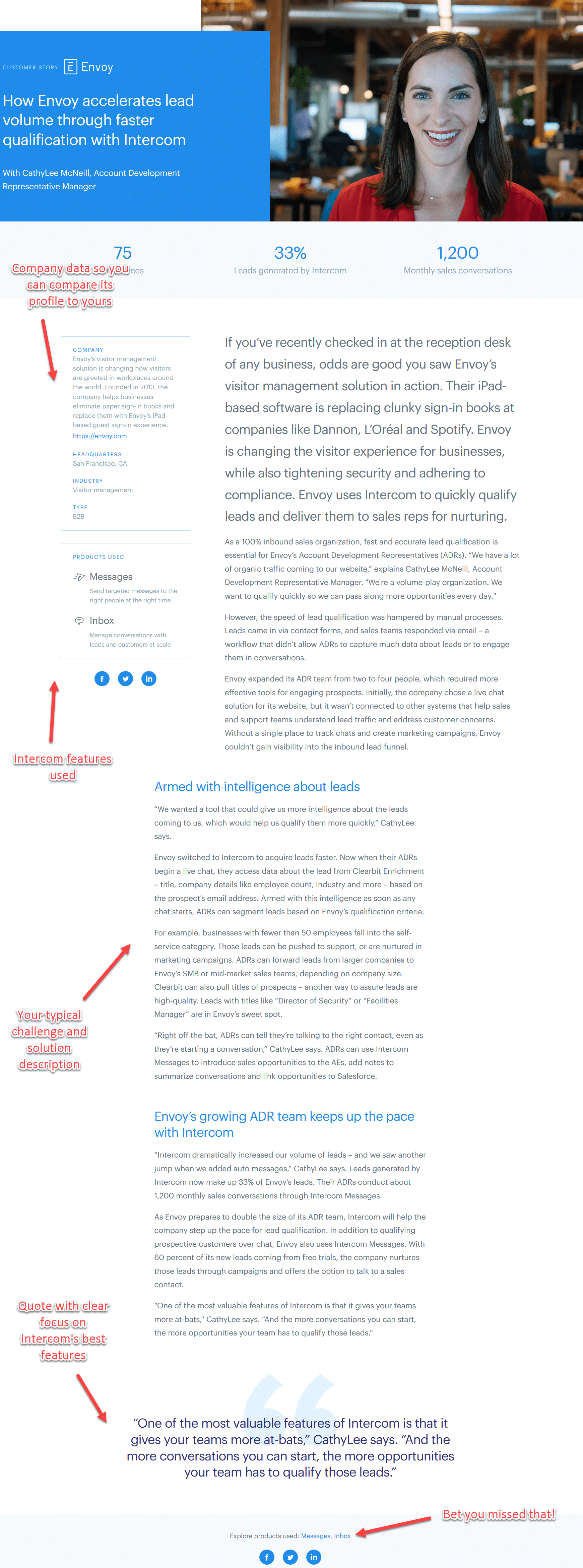 Intercom case study for their clients