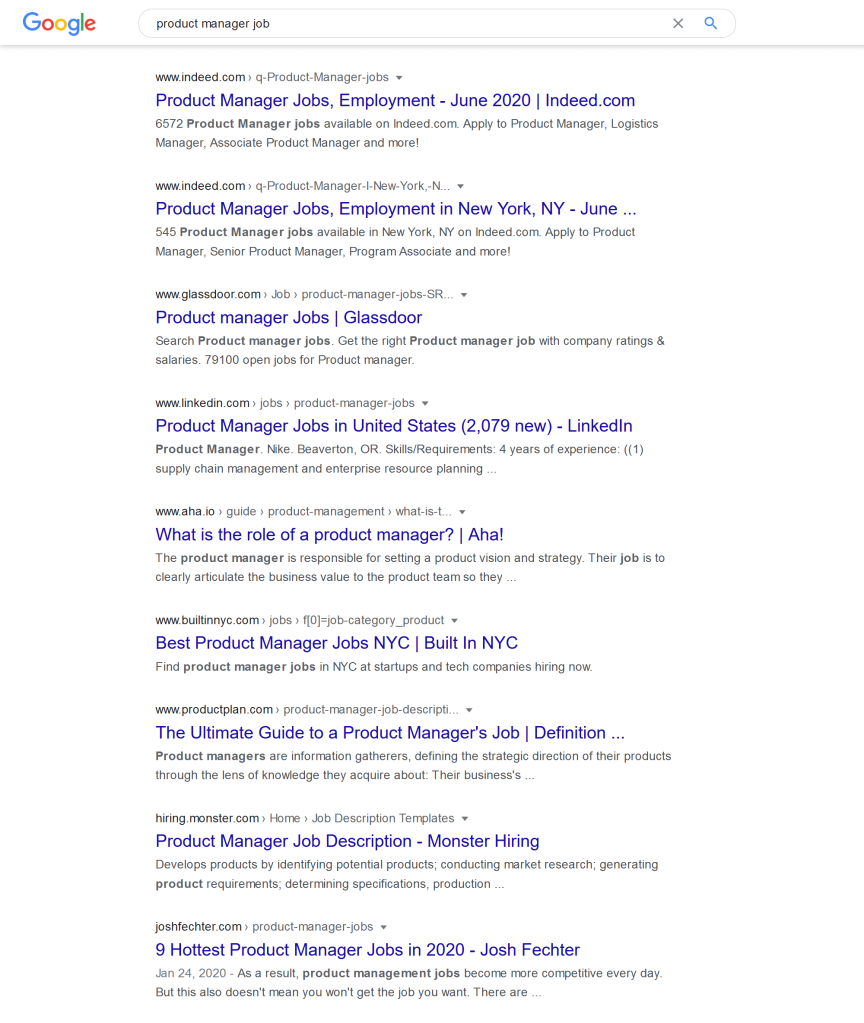 google search results analysis